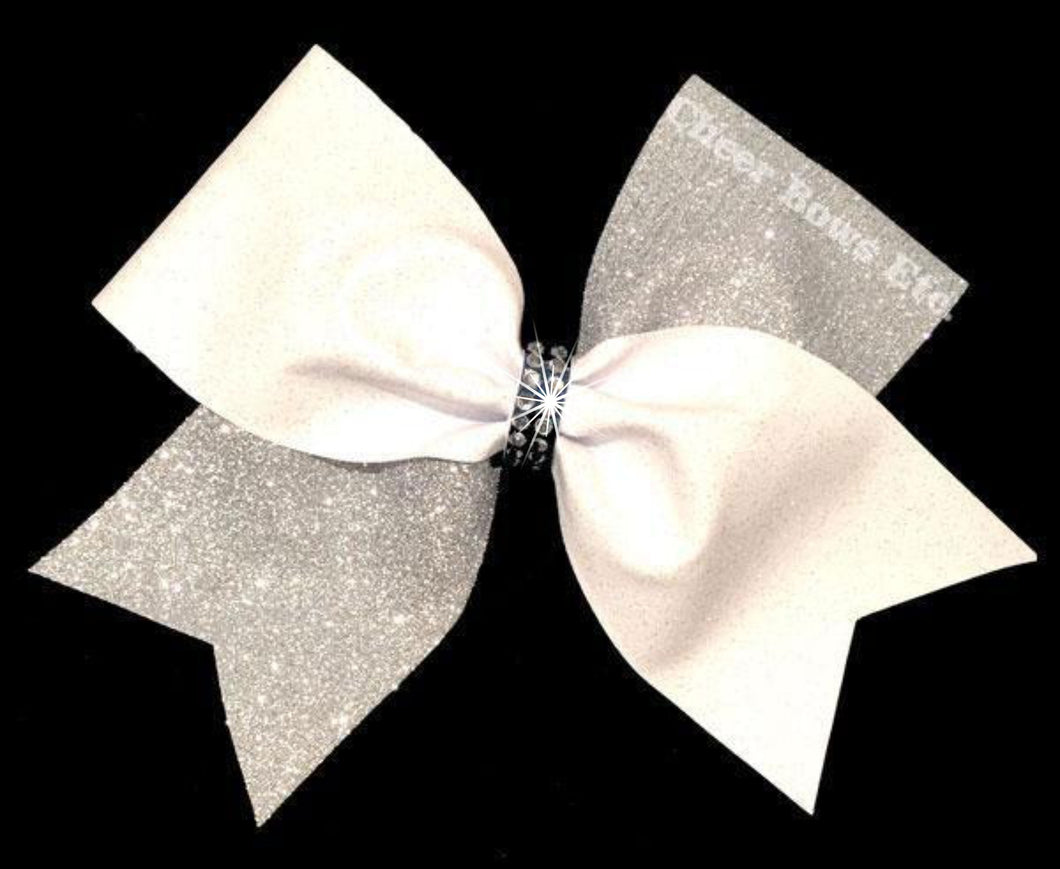 silver and white sparkly cheer bow
