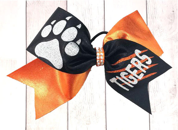 Orange, Black & Silver Tiger Paw cheer bow