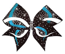 Load image into Gallery viewer, Cheerleading hair bow in turquoise, white and black glitter with rhinestones