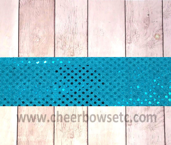 Turquoise Sequins Iron On Bow Strip