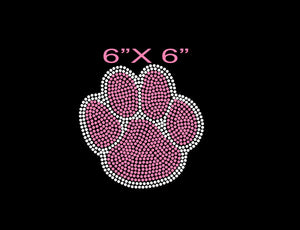 hot pink and crystal paw print heat transfer