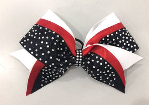 Red, White & Black rhinestone cheerleading bow