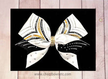 Load image into Gallery viewer, Vicory bow black and gold with rhinestone-cheerleading bow