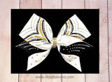 Vicory bow black and gold with rhinestone-cheerleading bow