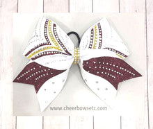 Load image into Gallery viewer, Maroon, gold and white cheerleading victory bow