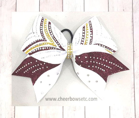 Maroon, gold and white cheerleading victory bow