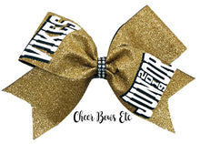 Load image into Gallery viewer, Gold Glitter Bow with Team name in white and hunter green