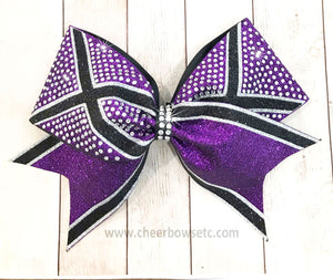 purple, black & silver glitter and stones X out bow
