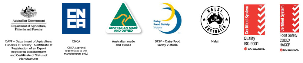 Thrive Milk Australia Certified by Australian Made and Australian Government among others