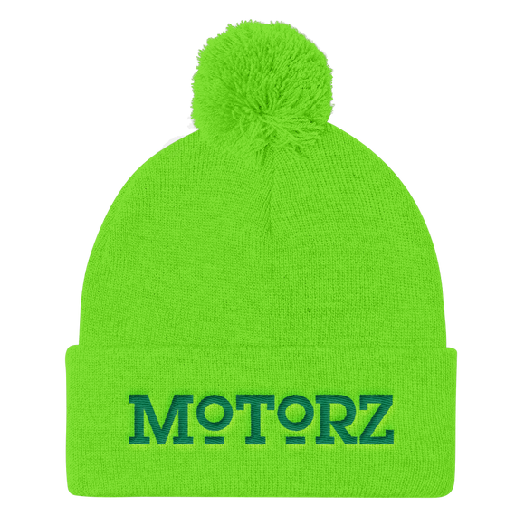 Motorz Pom Pom Knit Cap (Green Thread)