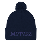 Motorz Pom Pom Knit Cap (Navy Thread)
