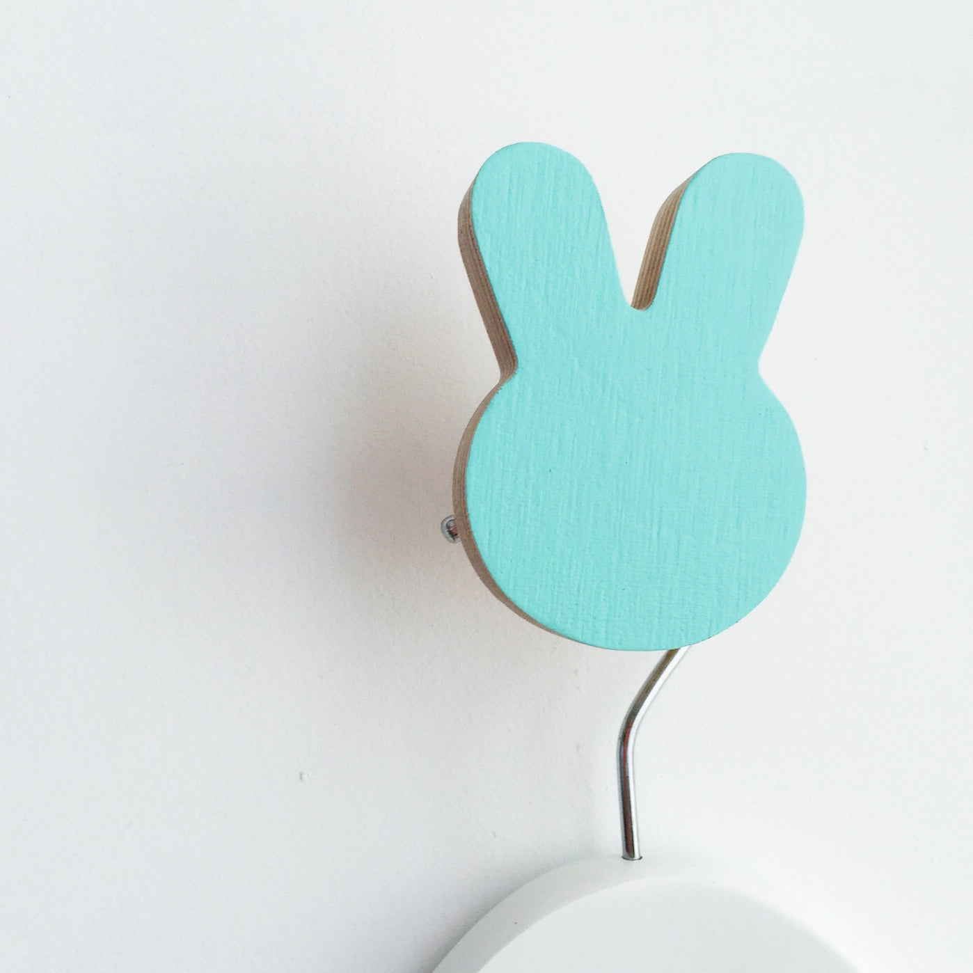 knobbly. bunny wall hook minty blue green
