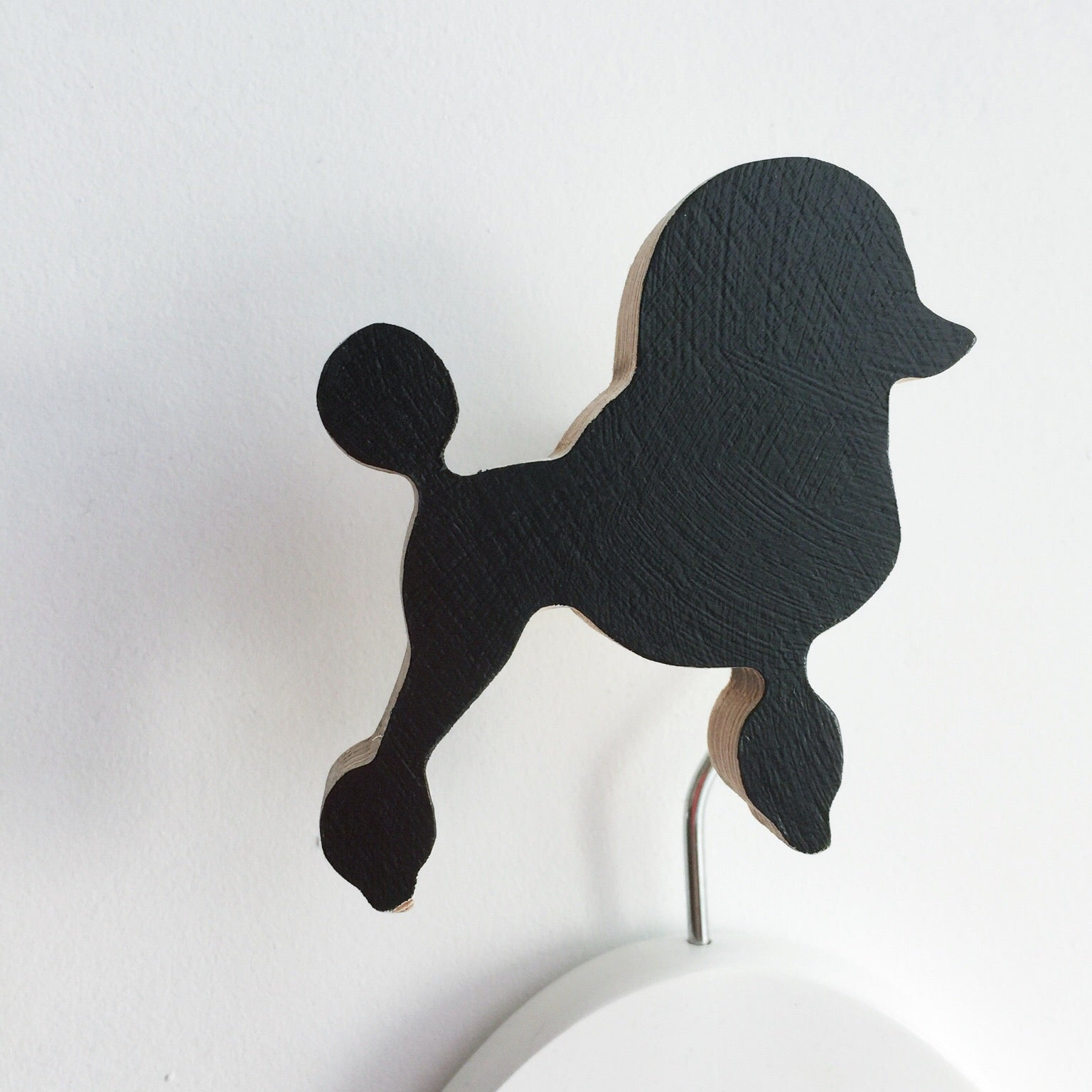 knobbly. french poodle wall hook black