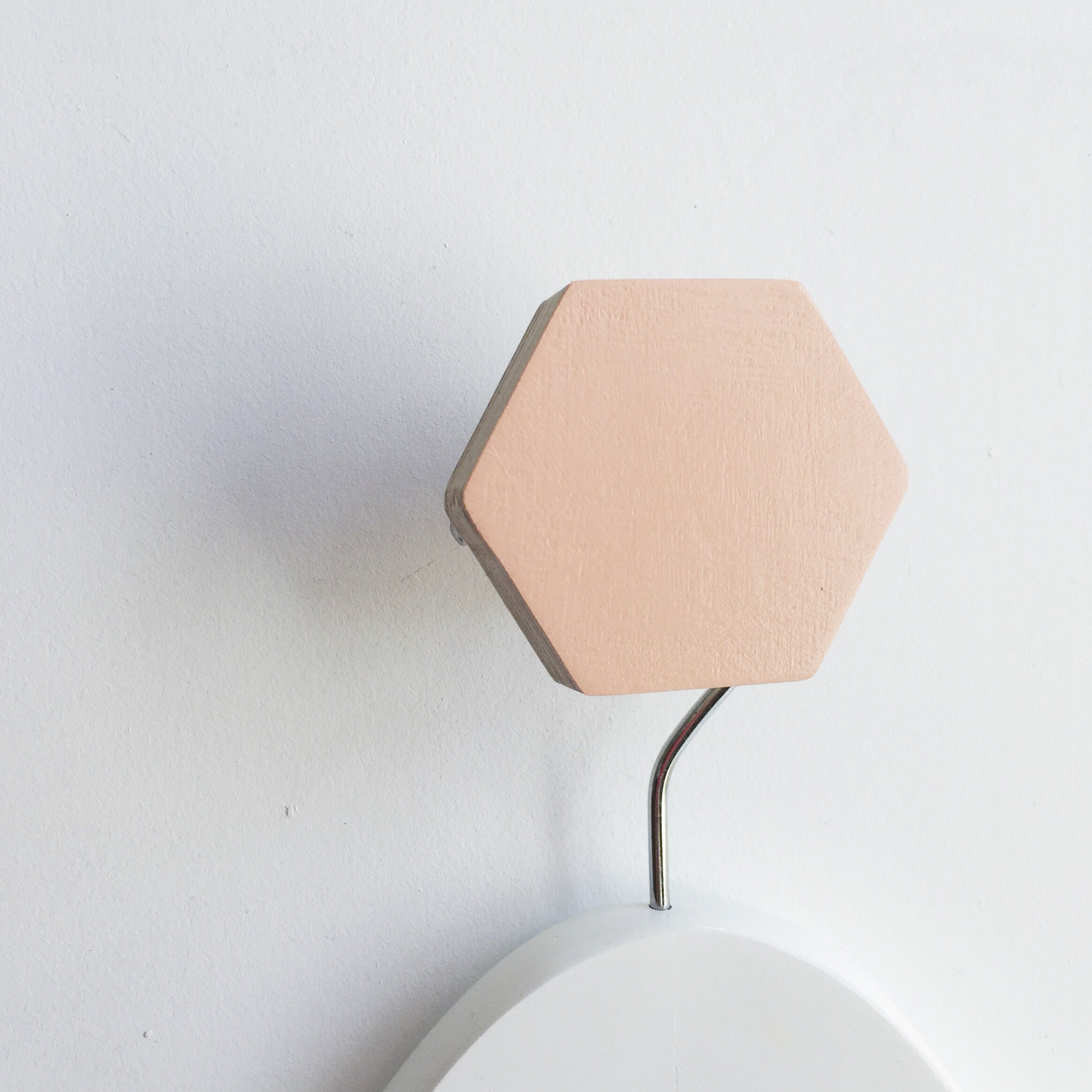 knobbly. hexagon wall hook coral
