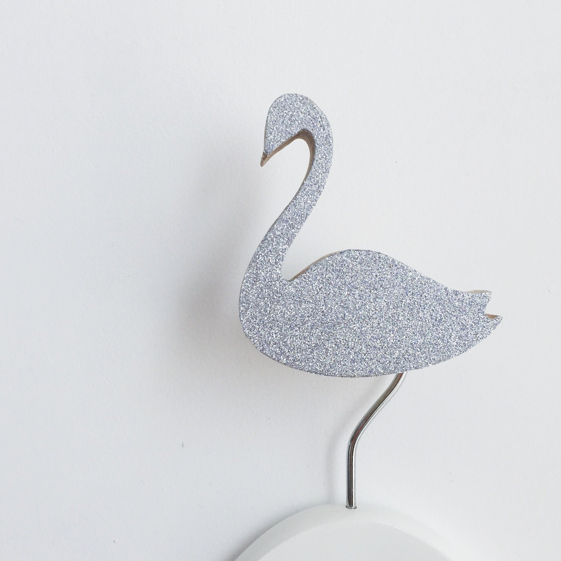 knobbly. swan wall hook silver glitter