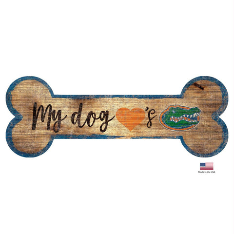 Florida Gators Distressed Dog Bone Wooden Sign
