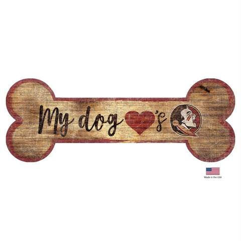 Florida State Seminoles Distressed Dog Bone Wooden Sign