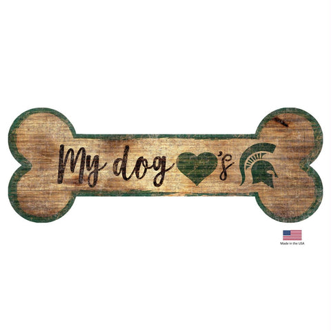 Michigan State Spartans Distressed Dog Bone Wooden Sign