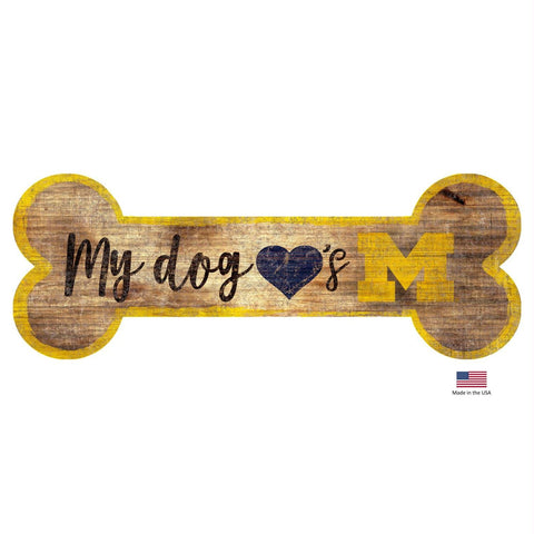 Michigan Wolverines Distressed Dog Bone Wooden Sign