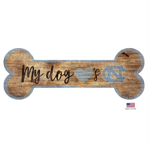 North Carolina Tarheels Distressed Dog Bone Wooden Sign