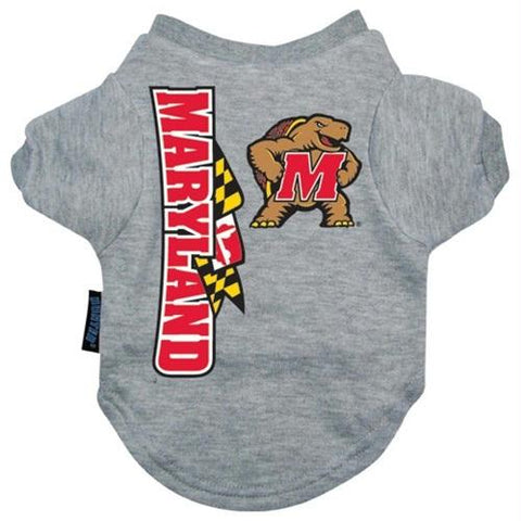 Maryland Terrapins Heather Grey Pet T-Shirt