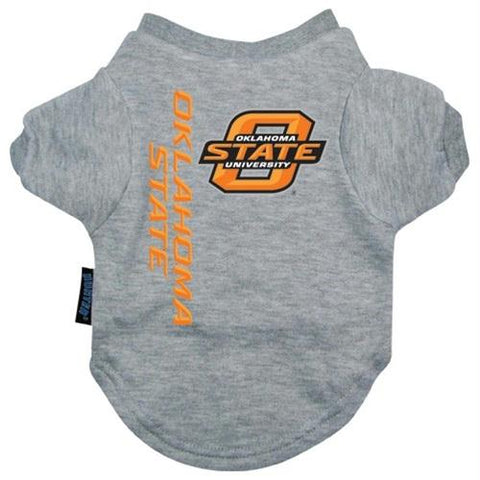 Oklahoma State Heather Grey Pet T-Shirt - Small