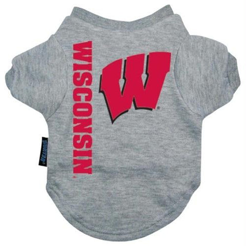 Wisconsin Badgers Heather Grey Pet T-Shirt