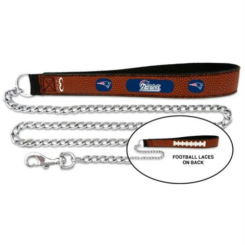 New England Patriots Football Leather and Chain Leash