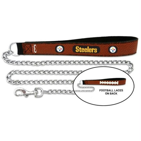 Pittsburgh Steelers Football Leather and Chain Leash