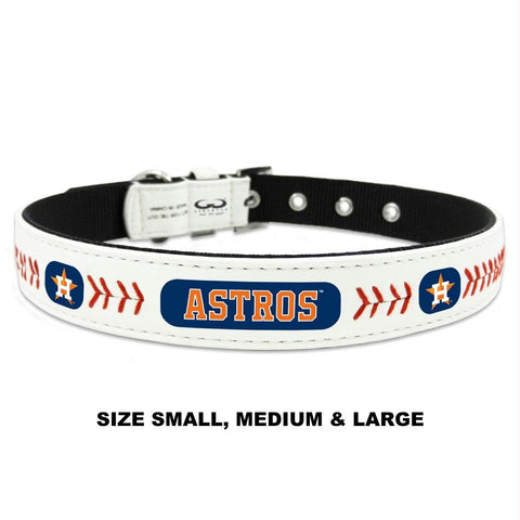 Houston Astros Classic Leather Baseball Collar