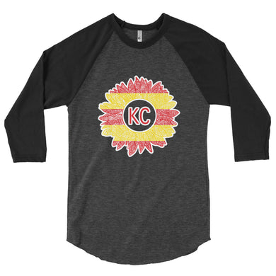 Chiefs Sunflower 3/4 sleeve raglan shirt