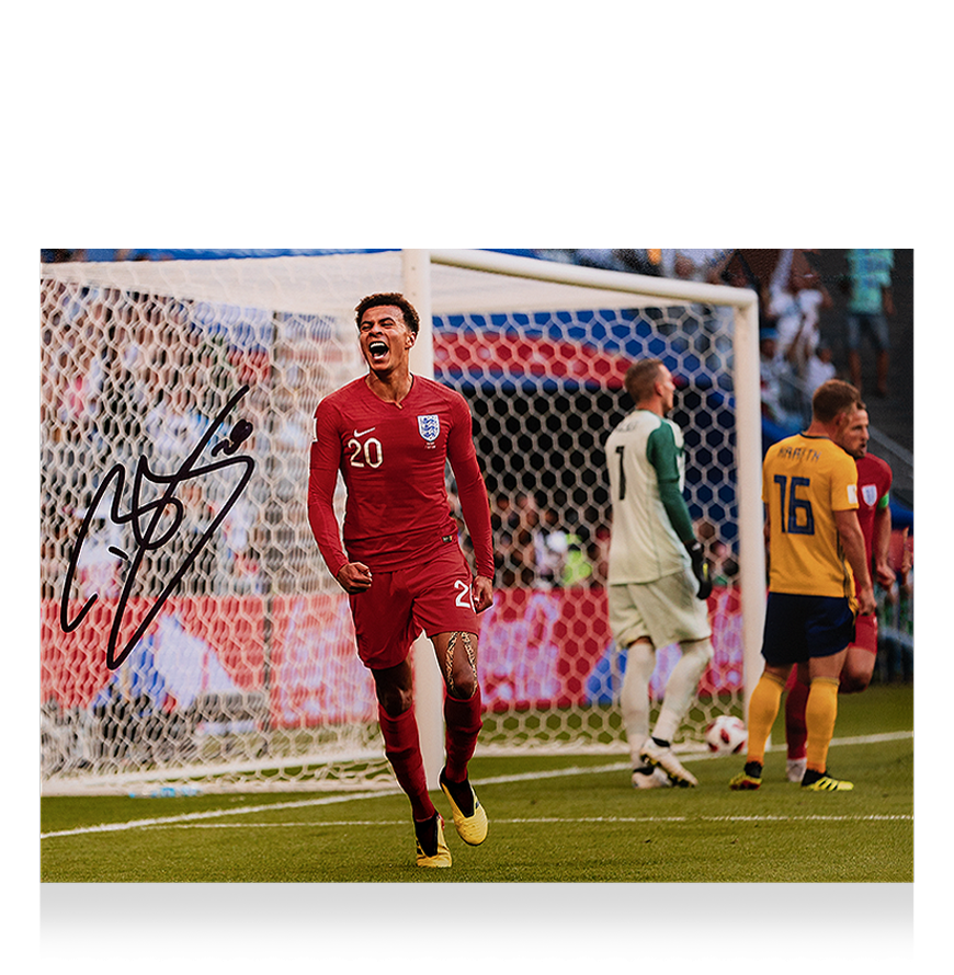Dele Alli Signed England Photo: 2018 FIFA World Cup Quarter-Final Goal vs Sweden