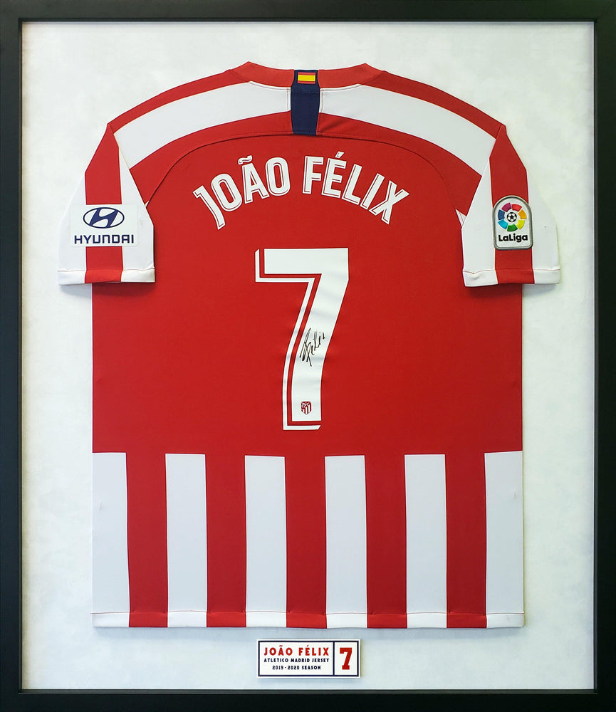 Joao Felix Back Signed Atletico Madrid 2019-20 Home Jersey Framed