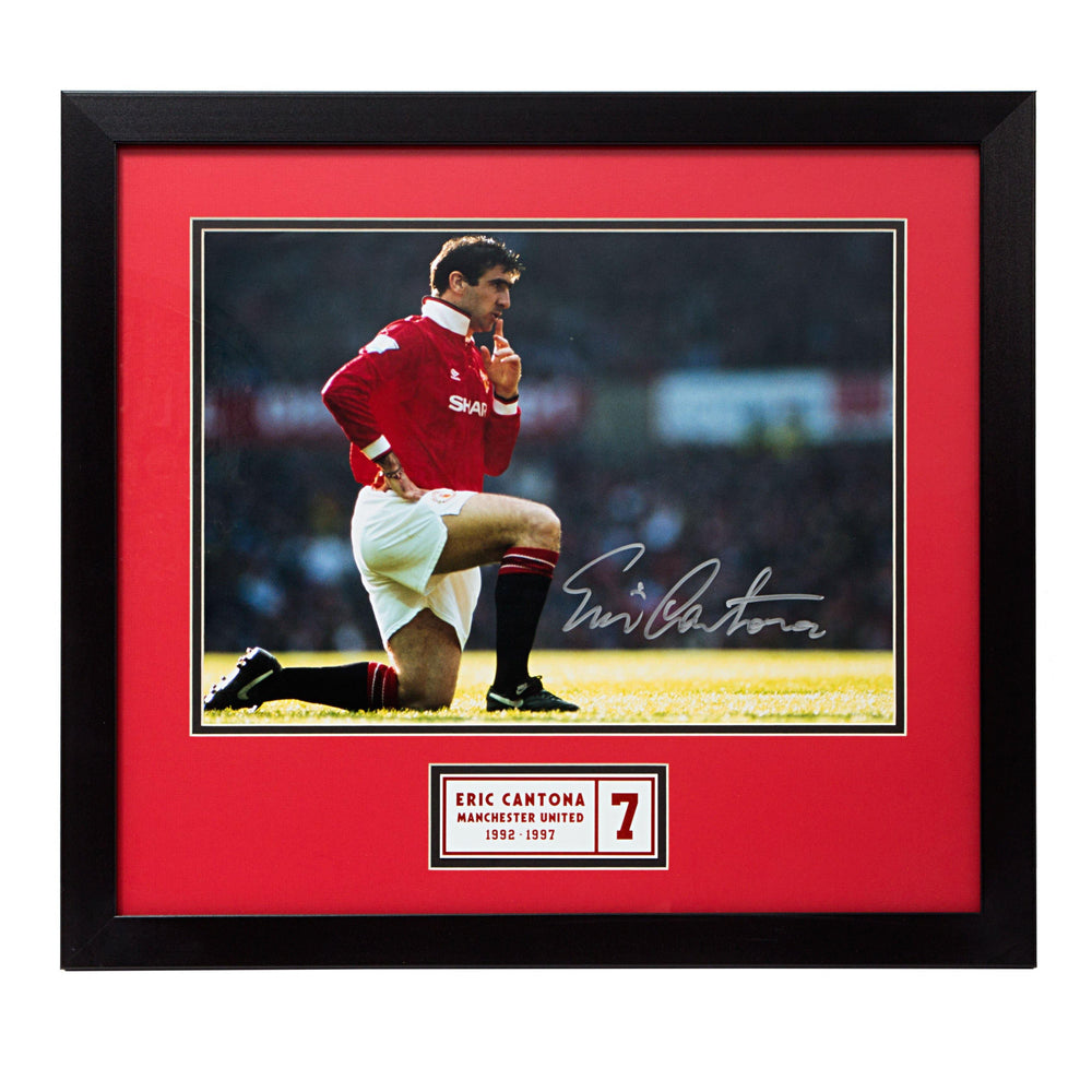 Eric Cantona Manchester United Signed Photo in Wood Frame