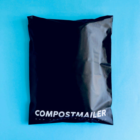 Compostmailer, black biodegradable and compostable mailer bag from Australia