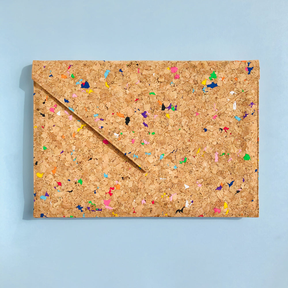 By The Sea Collection, Alice, colourful vegan cork leather document case