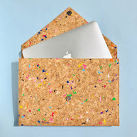 Apple Macbook inside of By The Sea Collection, Alice, colourful vegan cork leather document case