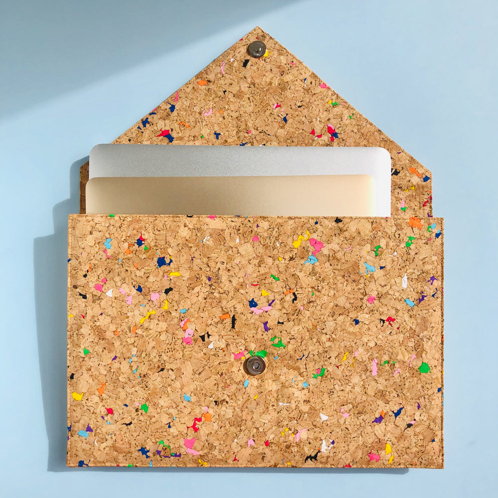 Two Apple Macbooks inside of By The Sea Collection, Alice, colourful vegan cork leather document case