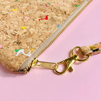 YKK metal zipper detail of By The Sea Collection, Annie, colourful vegan cork leather pouch