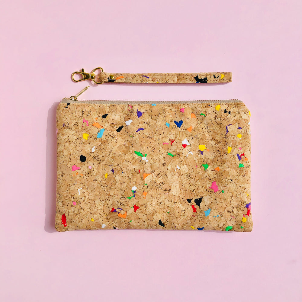 Detached wrsitlet of By The Sea Collection, Annie, colourful vegan cork leather pouch
