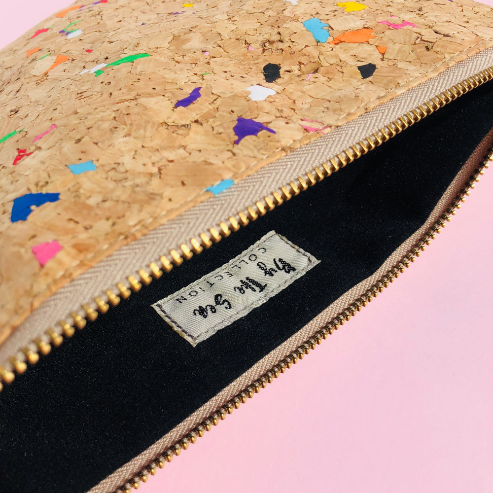 Interior of By The Sea Collection, Annie, colourful vegan cork leather pouch