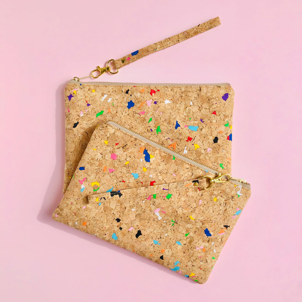 Two By The Sea Collection, Annie, colourful vegan cork leather pouches