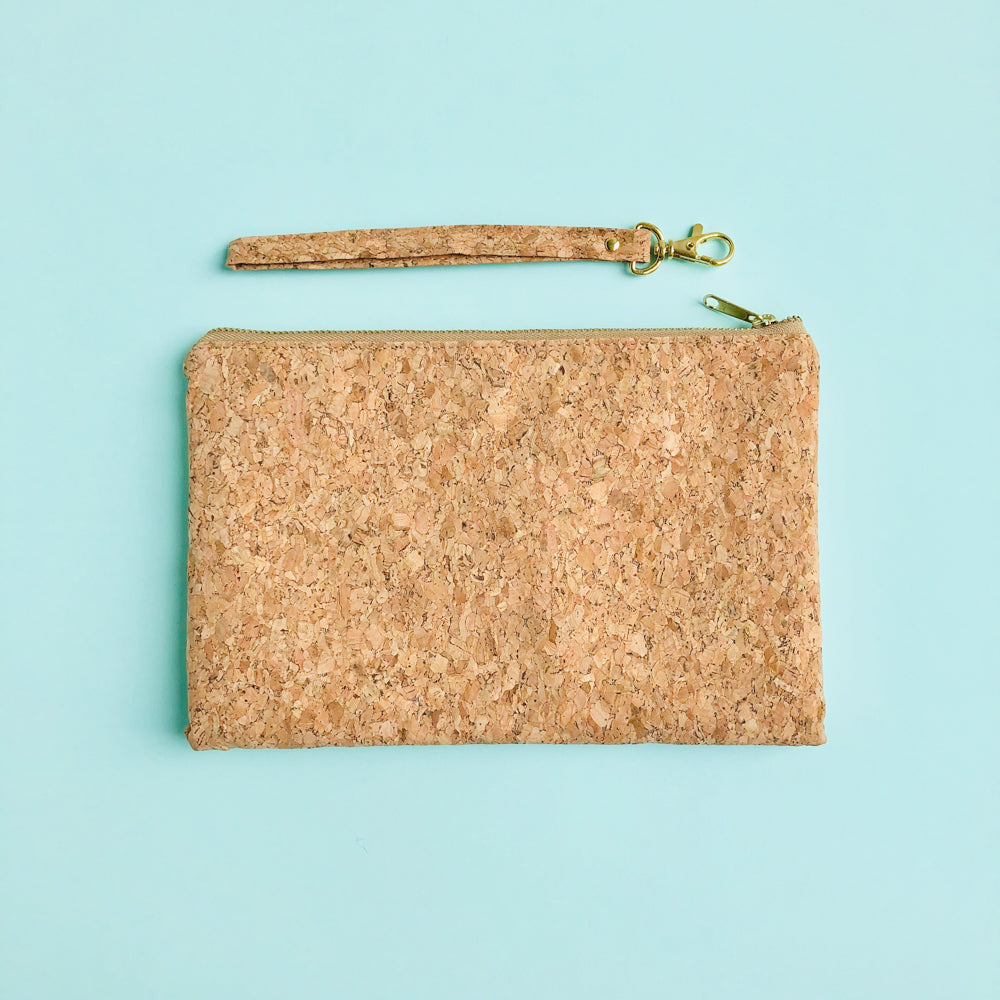 Detached wristlet of By The Sea Collection, Annie, vegan cork leather pouch