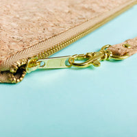 YKK metal zipper detail of By The Sea Collection, Annie, vegan cork leather pouch