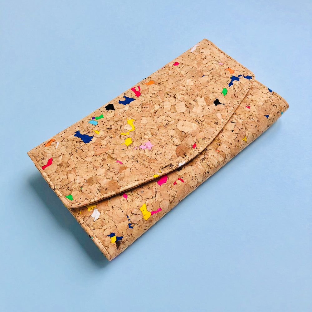 By The Sea Collection, Emma, colourful women's vegan cork leather wallet