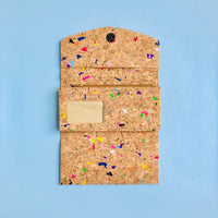The inside of By The Sea Collection, Emma, colourful women's vegan cork leather wallet