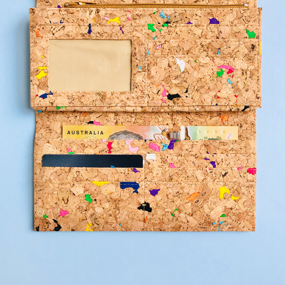Card slot section of By The Sea Collection, Emma, colourful women's vegan cork leather wallet