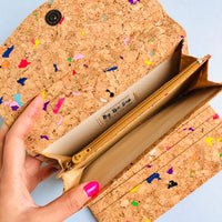 Bill compartments of By The Sea Collection, Emma, colourful women's vegan cork leather wallet
