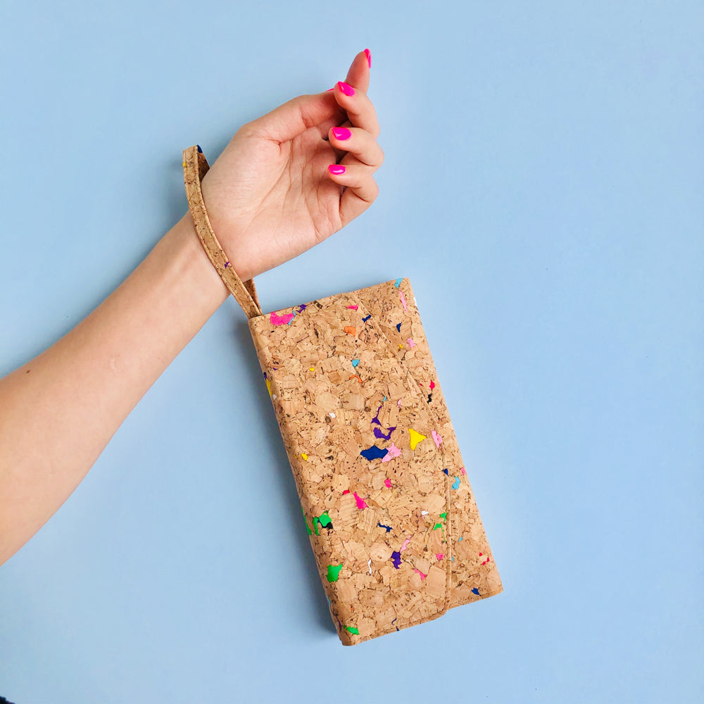 Colourful Women's Vegan Cork Leather Wallet With Wristlet