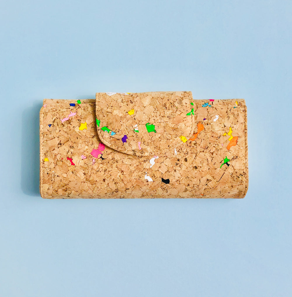 By The Sea Collection, Fara, colourful women's vegan cork leather wallet